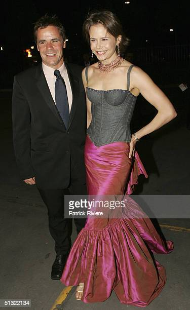 """Television host and Nicole Kidman's sister, Antonia Kidman, arrives with her husband Angus Hawley at the """"Mother Of All Balls"""" charity event to raise..."""