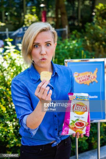 Television host and online personality Hannah Hart enjoys a bag of the new limitedtime Lay's Thai Sweet Chili flavor from its Tastes of America...