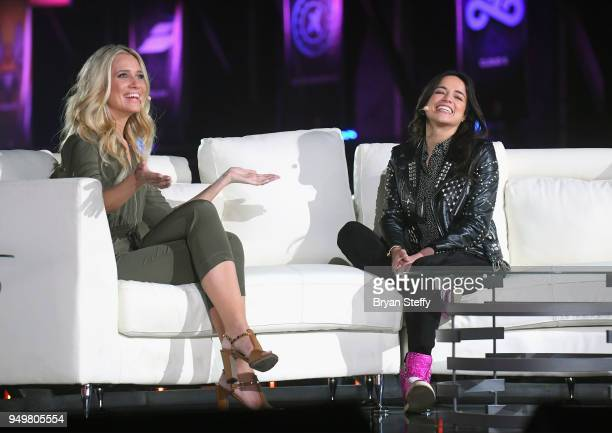 Television host and sports reporter Kristine Leahy and actress Michelle Rodriguez speak during opening weekend of the Twin Galaxies H1Z1 Pro League...