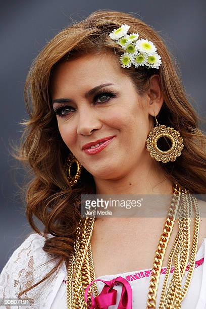Television host Anette Michel during the concert of the 199th anniversary of the Mexican Independence at Zocalo on September 15 2009 in Mexico City...