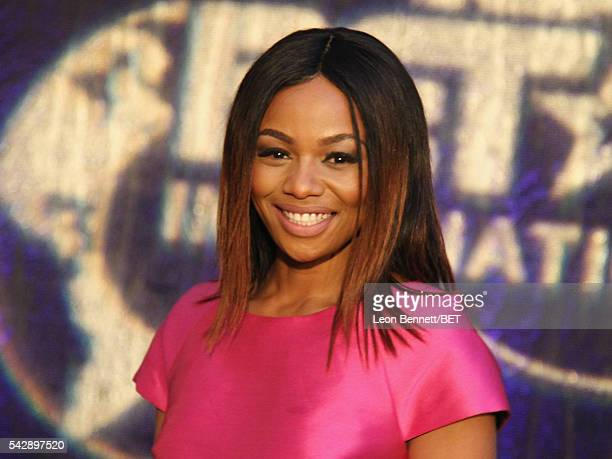 Television host Bonang Matheba attends the BET International 'Sounds of Africa' exhibit grand opening and 24th international nominee reception during...