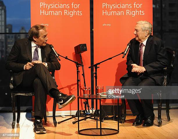 Television Host Charlie Rose and George Soros speak at the 2015 Physicians For Human Rights Gala at Jazz at Lincoln Center's Frederick P Rose Hall on...