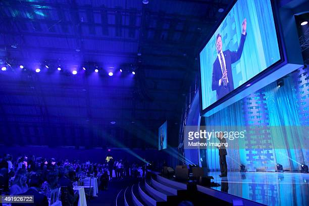 Television Host Conan O'Brien speaks on stage at the Autism Speaks Celebrity Chef Gala at The Barker Hanger on October 8 2015 in Santa Monica...