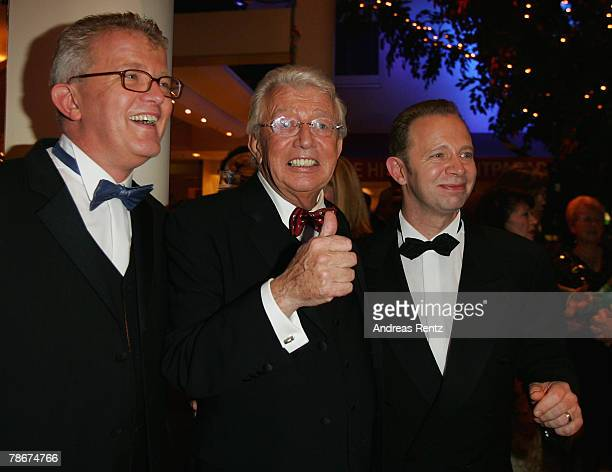 Television host Dieter Thomas Heck with his sons Nils Heckscher and Kim Heckscher attend the after show party to the 'Danke Dieter Thomas Heck - 70th...
