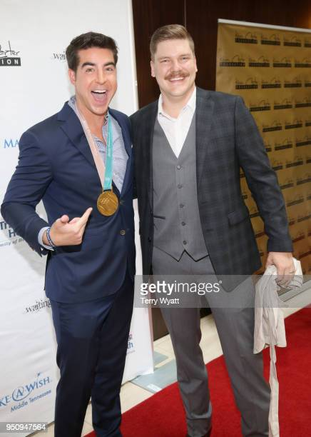 Television host Jesse Watters and Olympic Curler Matt Hamilton attend the 17th annual Waiting for Wishes celebrity dinner at The Palm on April 24...