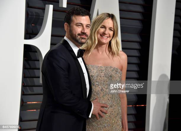 Television host Jimmy Kimmel and Molly McNearney attend the 2017 Vanity Fair Oscar Party hosted by Graydon Carter at Wallis Annenberg Center for the...