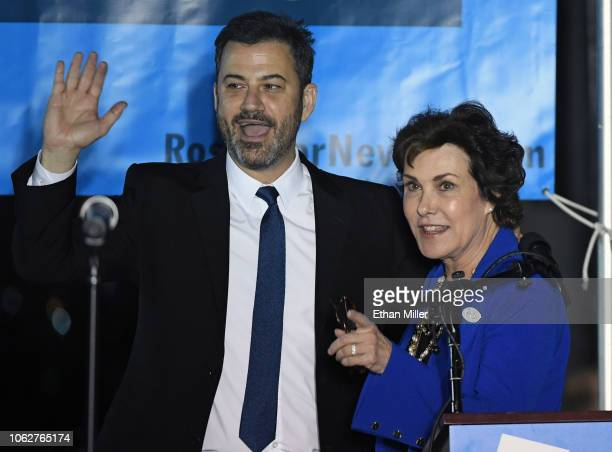 Television host Jimmy Kimmel is introduced by US Rep and US Senate candidate Jacky Rosen at a getoutthevote rally at First Friday in the Downtown Las...