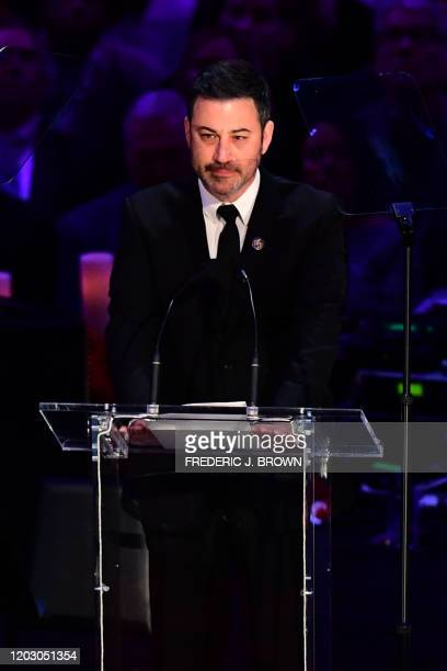 US television host Jimmy Kimmel speaks during the Celebration of Life for Kobe and Gianna Bryant service at Staples Center in Downtown Los Angeles on...