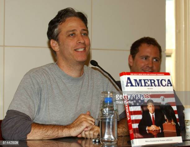 """Television host Jon Stewart is seen at Barnes & Noble in Union Square to sign his new book """"America"""" on October 8, 2004 in New York City."""