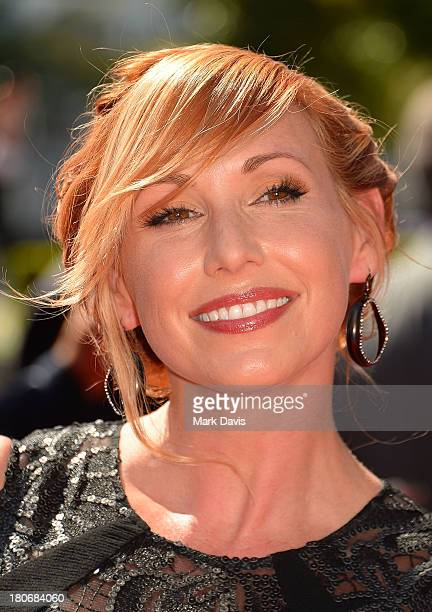 Television host Kari Byron poses at the 2013 Creative Arts Emmy Awards held at the Nokia Theatre LA Live on September 15 2013 in Los Angeles...