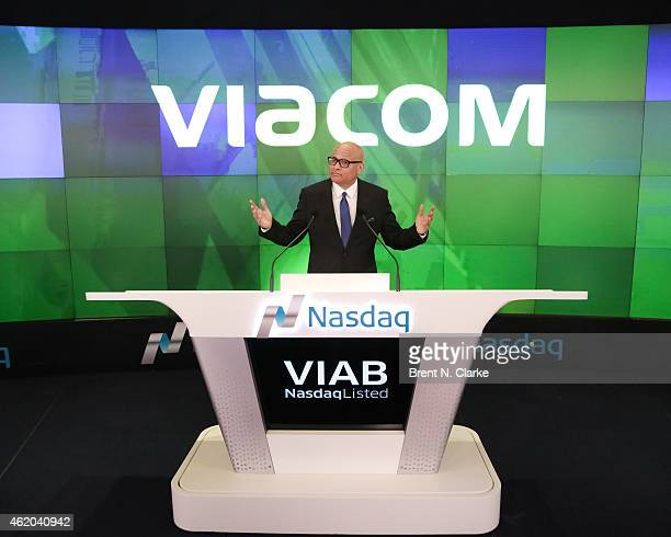 Television host Larry Wilmore attends Viacom Inc and Comedy Central's The Nightly Show with Larry Wilmore ring the NASDAQ Stock Market Closing Bell...