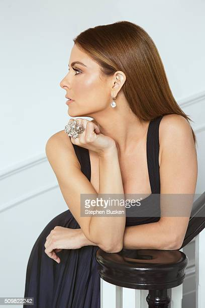 Television host Maria Menounos is photographed at home for Cambria Magazine on April 6 2015 in Encino California
