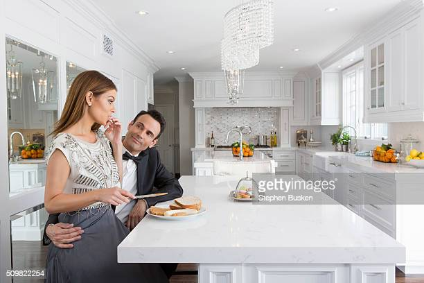 Television host Maria Menounos is photographed with partner Keven Undergaro at home for Cambria Magazine on April 6 2015 in Encino California