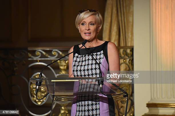 Television host Mika Brzezinski speaks onstage at the 5th Annual Elly Awards hosted by the Women's Forum of New York honoring Tina Brown Emily...