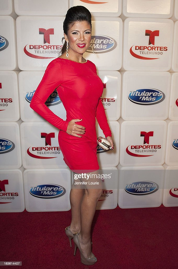 Television host Mirella Grisales attends Deportes Telemundo's celebration of their hit show 'Titulares Y Mas' at Ebanos Crossing on October 7, 2013 in Los Angeles, California.