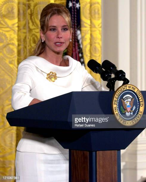 Television host Myrka Dellanos speaks in the East Room at the White House on September 15 2004 for the Hispanic Heritage Month Celebration