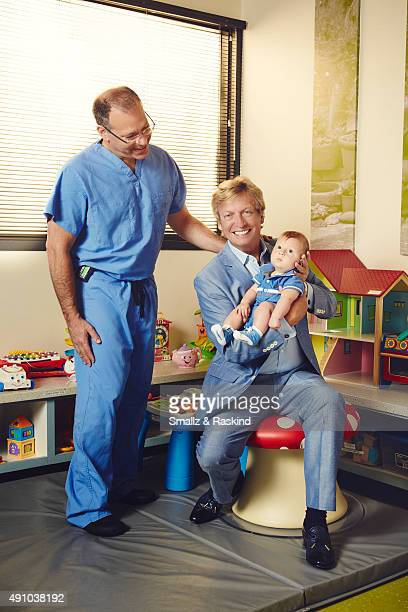 Television host Nigel Lythgoe is photographed with his son Leo Lythgoe and Pediatric Neurologist Dr Mark Krieger for The Hollywood Reporter on August...