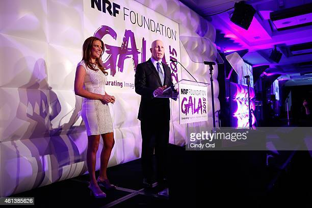 Television Host of Street Smart Bloomberg Trish Regan and President and CEO of the National Retail Federation Matthew R Shay speak at NRF Foundation...