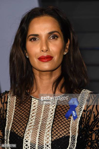 Television host Padma Lakshmi attends the 2018 Vanity Fair Oscar Party hosted by Radhika Jones at the Wallis Annenberg Center for the Performing Arts...