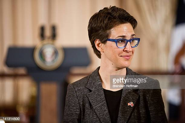 Television host Rachel Maddow arrives for a lunch hosted in honor of Prime Minister David Cameron at the State Department on March 14 2012 in...