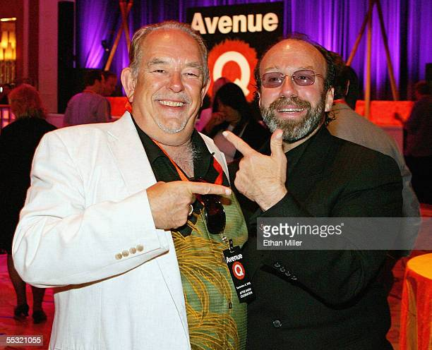 Television host Robin Leach and manager Bernie Yuman joke around at the after party for the Las Vegas premiere of the Tony Awardwinning Broadway...