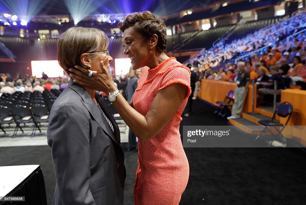 Television host Robin Roberts, right, embraces Stanford University women's basketball coach Tara VanDerveer, left, before a ceremony to celebrate the life of former Tennessee women's basketball coach Pat Summitt on July 14, 2016 at the Thompson-Boling Arena in Knoxville, Tennessee.. Roberts is serving as the emcee for the event. Summitt died June 28 at the age of 64, five years after being diagnosed with Alzheimer's disease.