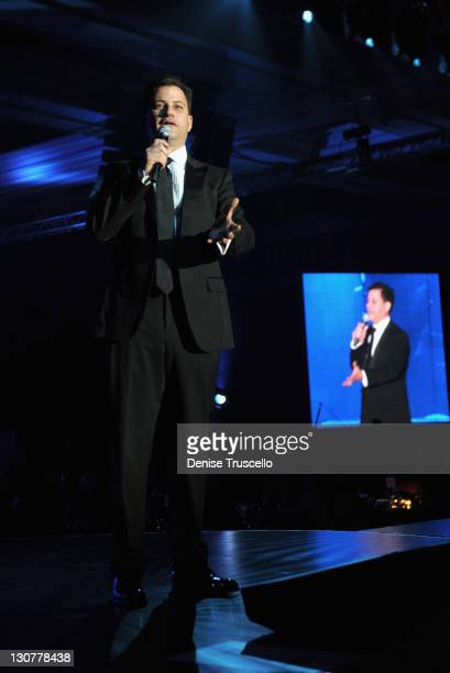 Television host/comedian Jimmy Kimmelspeaks onstage during the Andre Agassi Foundation for Education's 16th Grand Slam for Children benefit concert...