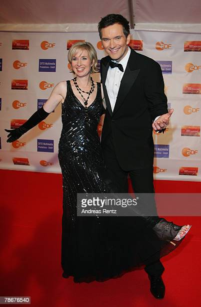 Television hostess Babette Einstmann and television host Ingo Nommsen arrive at the red carpet to the 'Danke Dieter Thomas Heck 70th birthday gala'...