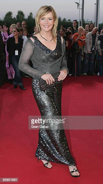 Television hostess Barbara Eligmann arrives at the German Television Awards at the Coloneum on October 15 2005 in Cologne Germany