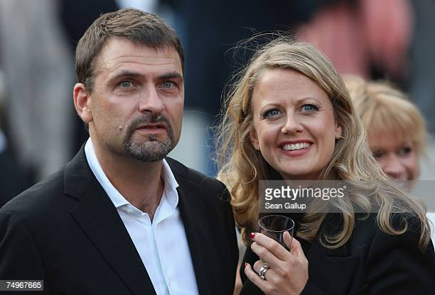 Television hostess Barbara Schoeneberger and husband Mathias Krahl attend a Barbra Streisand concert at the Waldbuehne June 30 3007 in Berlin Germany