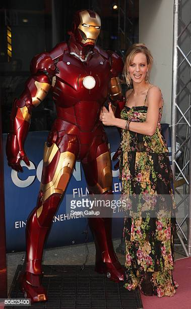 "Television hostess Christina Schulte attends the premiere of the movie ""Iron Man"" at the Cinemaxx on April 22, 2008 in Berlin, Germany."