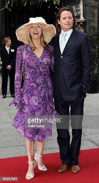 Television hostess Frauke Ludowig and her husband Kai Roeffen arrive at the church wedding of Verona and Franjo Pooth at the Stephansdom Catherdral...