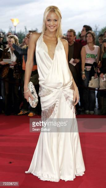 Television hostess Mirjam Weichselbaum attends the German Television Awards at the Coloneum October 20 2006 in Cologne Germany