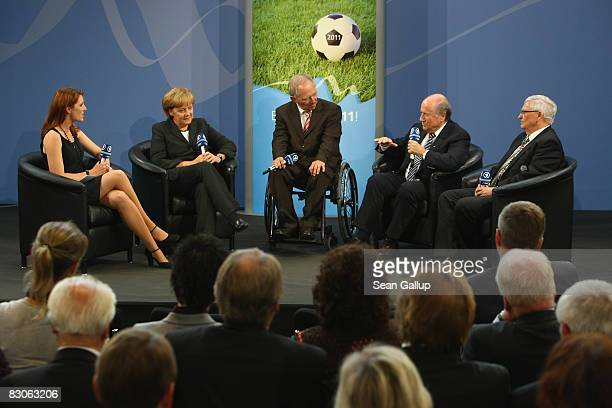 Television hostess Monica Lierhaus chats with German Chancellor Angela Merkel Interior Minister Wolfgang Schaeuble FIFA President Joseph Blatter and...