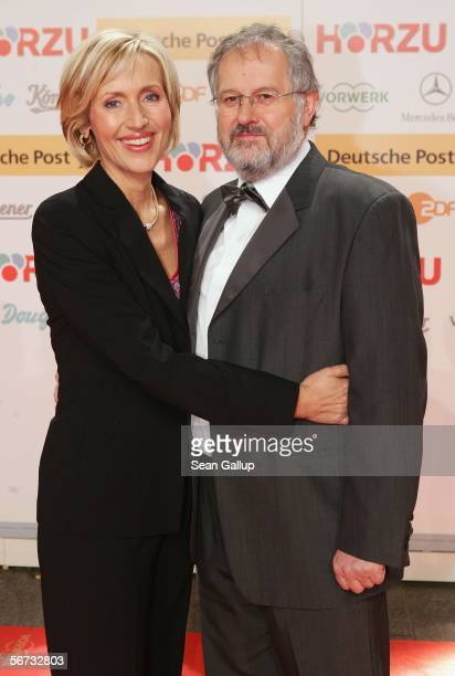 Television hostess Petra Gerster and her husband Christian Nuernberger arrive for the Goldene Kamera Awards at the Axel Springer building February 2,...