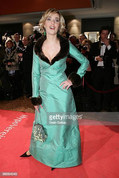 Television hostess Tanja Buelter arrives for the 33rd annual German Filmball on January 14 2006 in Munich Germany