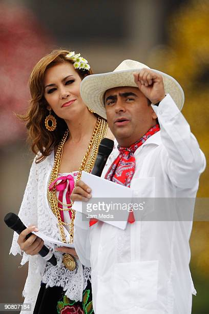 Television hosts Anette Michel and Adal Ramones during the concert of the 199th anniversary of the Mexican Independence at Zocalo on September 15...