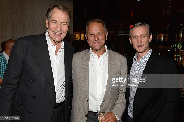 Television hosts Charlie Rose and Dan Abrams attend the 'Breaking Bad' NY Premiere 2013 after party at Lincoln Ristorante on July 31 2013 in New York...