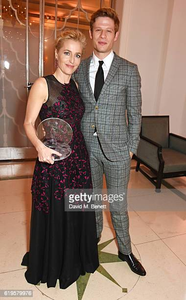 Television Icon award winner Gillian Anderson and presenter James Norton attend the Harper's Bazaar Women of the Year Awards 2016 at Claridge's Hotel...