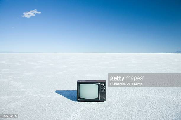 television in the middle of nowhere - bonneville salt flats stock photos and pictures