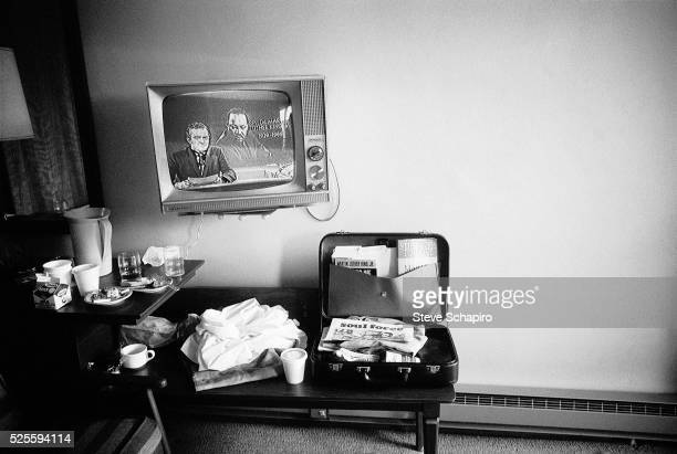 A television in the motel suite Martin Luther King was staying in when assinated plays the news of his death Memphis Tennessee April 5 1968