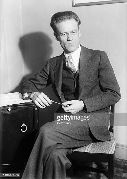 Television inventor Philo T Farnsworth in New York with plans to build a television transmitting station