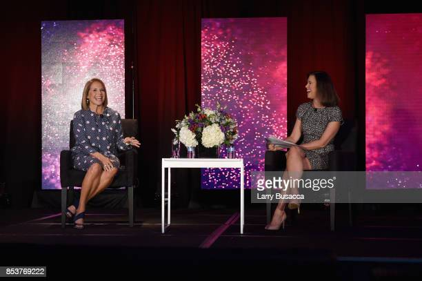 Television Journalist and News Anchor Katie Couric and Editor in Cheif of USA Today and USA Today Network Joanne Lipman speak onstage during the WICT...