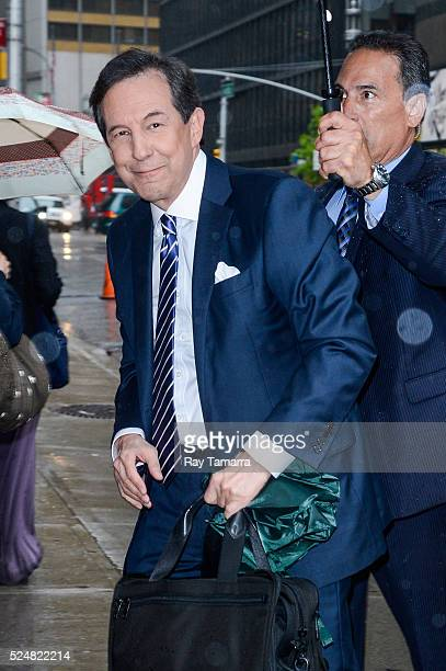 Television journalist Chris Wallace enters The Late Show With Stephen Colbert taping at the Ed Sullivan Theater on April 26 2016 in New York City