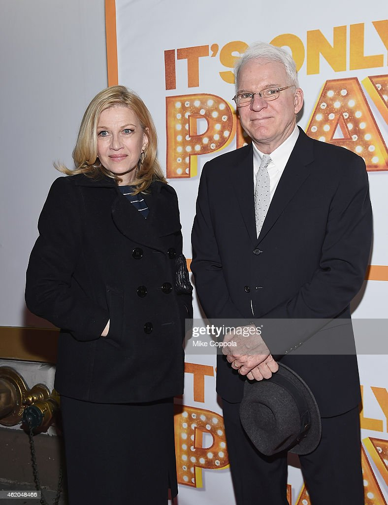 Television Journalist Diane Sawyer (L) and Steve Martin attend 'It's Only A Play' Broadway Re-Opening Night at The Bernard B. Jacobs Theatre on January 23, 2015 in New York City.