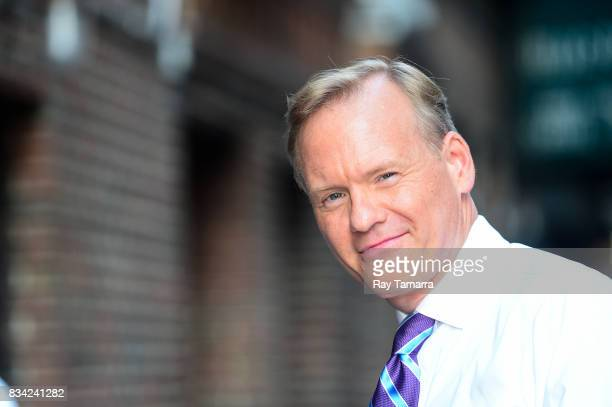 """Television journalist John Dickerson enters the """"The Late Show With Stephen Colbert"""" taping at the Ed Sullivan Theater on August 17, 2017 in New York..."""