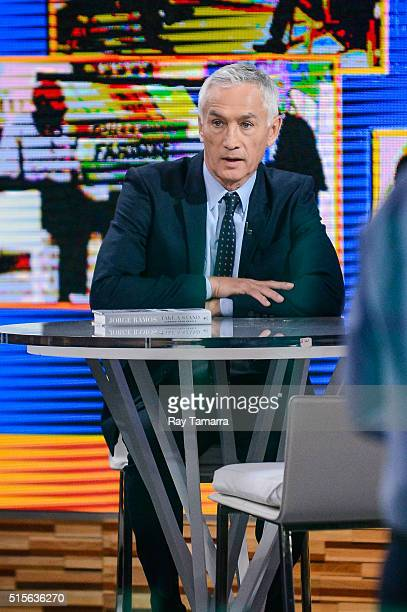 Television journalist Jorge Ramos tapes an interview at Good Morning America at the ABC Times Square Studios on March 14 2016 in New York City