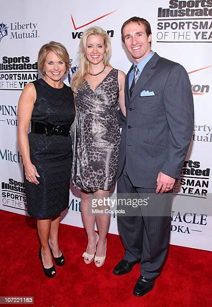 Television journalist Katie Couric, Brittany Brees, and New Orleans Saints quarterback Drew Brees attend 2010 Sports Illustrated Sportsman of the...
