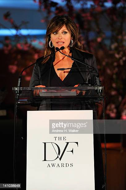 Television journalist Maria Bartiromo speaks onstage at the 3rd annual Diane Von Furstenberg awards at the United Nations on March 9 2012 in New York...