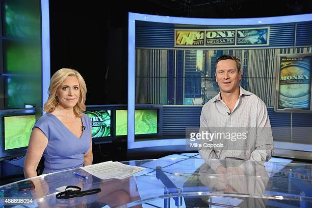 Television journalist Mleissa Francis interviews former professional football player Drew Bledsoe on FOX Business Network With Melissa Francis at FOX...